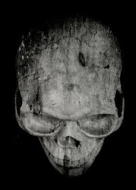 A black and white grungy spooky skull by Edward M. Fiel ...