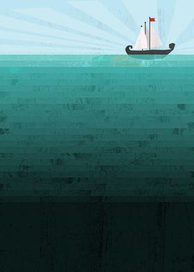A conceptual illustration of a deep blue ocean with a v ...