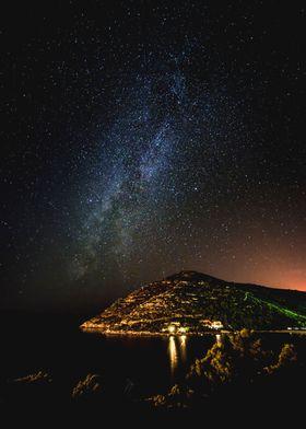 Milky way over Prapratno Bay in Croatia