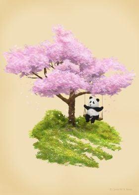 Panda on the swing