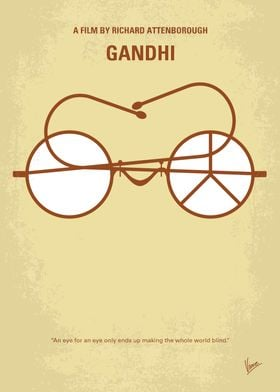 No543 My Gandhi minimal movie poster The life of the l ...