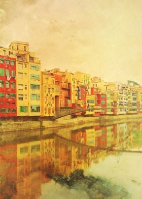 The river that reflects the city. Color photo of Girona ...