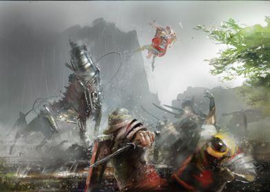 roman warriors fight against the big robot of destructi ...