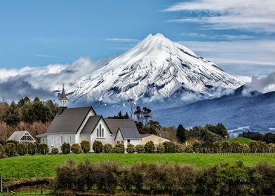 Historic church with Mount Taranaki in background
