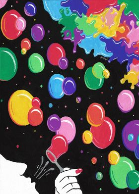 bubbles color the world, multicolor bubbles,