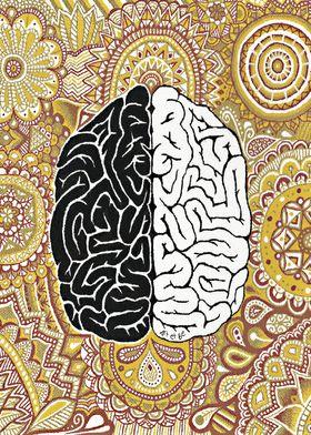 brain, cerveau, brun, marron, marroon, gold, or, doré,  ...