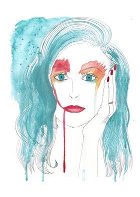 sad, sadness, drop, tears, watercolor, woman, girl, cry ...