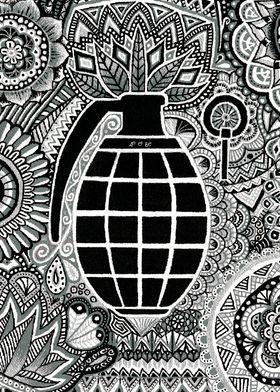 grenade, grey, black, white, silver, doodle, mandala, w ...