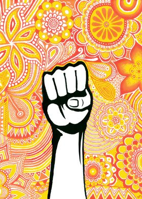 fight, power, poing, fist, color, yellow, red, yellow,  ...