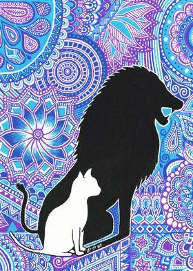 lion, cat, force, strength, bleu, blue, violet, purple, ...