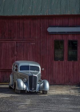 A classic silver vintage car photographed in Vermont by ...