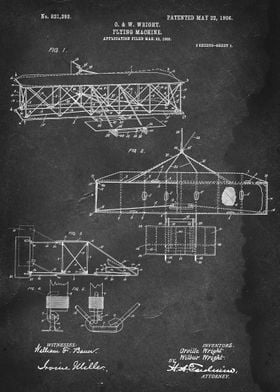 Flying Machine - Patent by O. & W. Wright - 1906