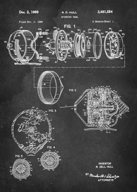 Spinning Reel (Fishing Reel) - Patent by R. D. Hull - 1 ...