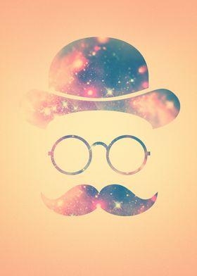 Retro Face with Moustache & Glasses / Universe - Galaxy ...