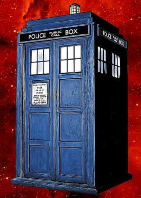 The Tardis painted on a red space background