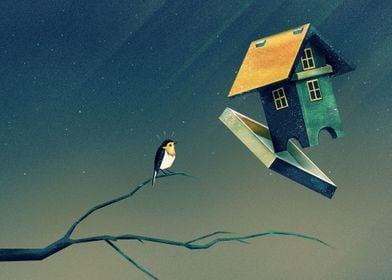 """Flying Bird...house"" Digital Painting, 2015"