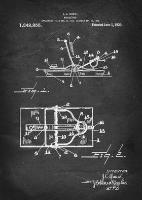 Mousetrap - Patent #1,342,255 by J. C. Doust - 1920