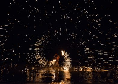 Fire show at Koh Tao, Thailand.
