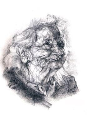 Portrait of a fairy grandma. Pencil on paper.