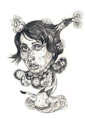 Surrealistic portrait. Graphic pencils on paper.