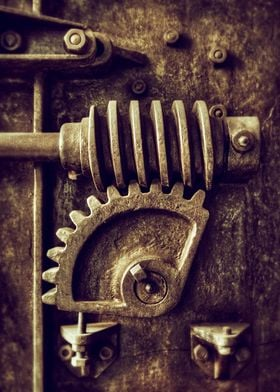 Industrial detail of an old heavy iron machine with spr ...
