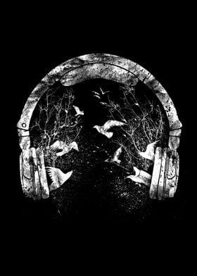 headphone black and white
