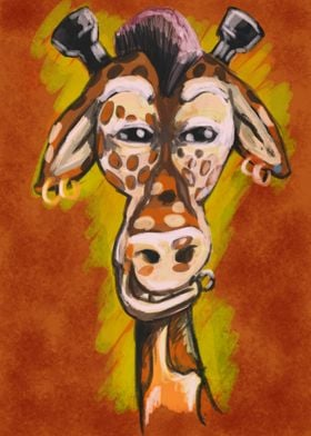 Giraffe with some edge. Yea he knows he stands out on t ...