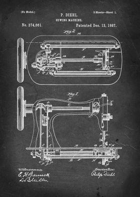 Sewing Machine - Patent #374,661 by P. Diehl - 1887