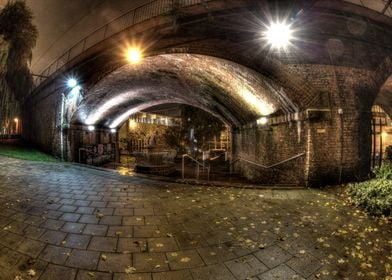 A nice shot of the railway arches at UMIST during the e ...