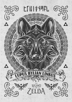 My vintage illustration of the wolf link done in a vint ...