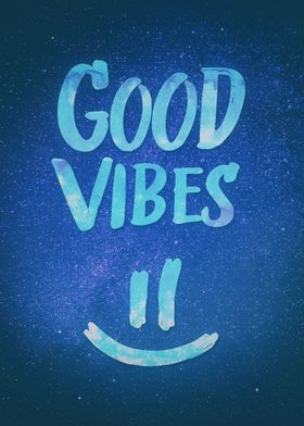 Good Vibes - Funny Smiley Statement / Happy Face (Blue  ...
