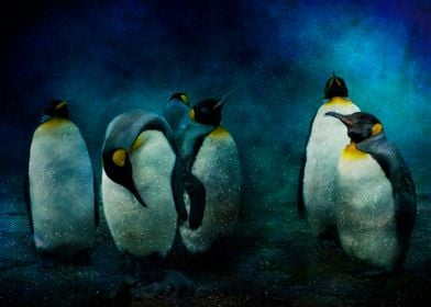 Textured photo of a group of penguins