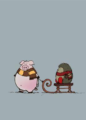 Pig and hedgehog