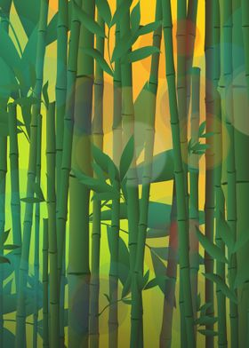 Sunrise at bamboo forest