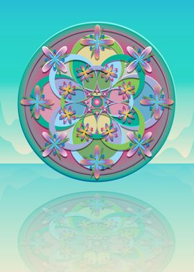 Retro inspired colours and design for this mandala. Vec ...