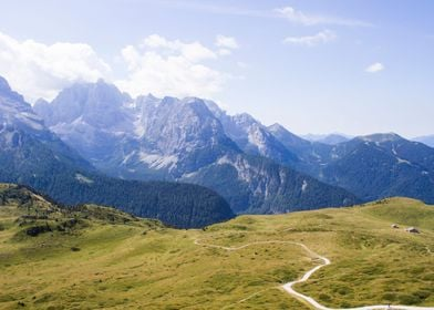 The Dolomites, Italy, at summertime.