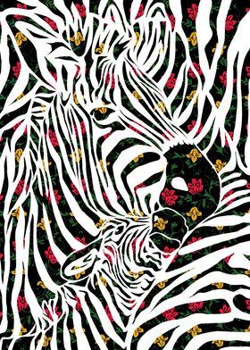 3 Zebras - hidden in their own stripes. Floral pattern. ...