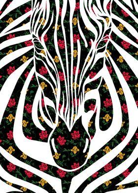 Zebra - Floral pattern