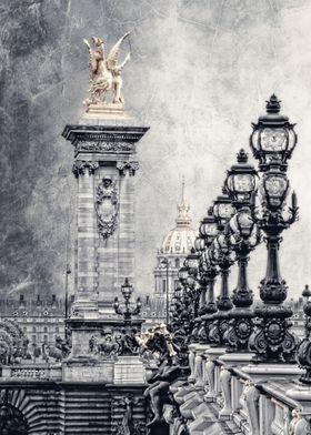 """""""Paris pompous""""   -   Pont Alexandre in Paris, black an ..."""