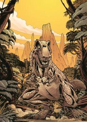 Color artwork of a T-Rex s