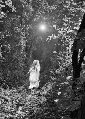 A girl runs through a dark forest at night by moonlight ...