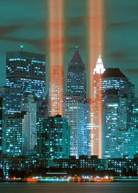 Graphic of the skyline of New York at night with lighti ...