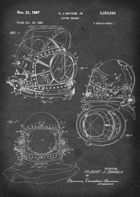 Diving Helmet - Patent #3,353,534 by H.J. Savoie Jr. -  ...