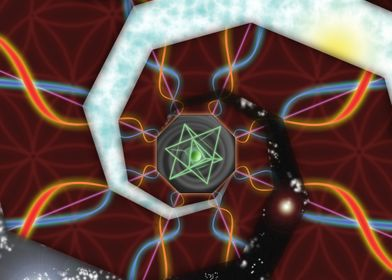A merkaba sits in an octagonal field of void.  Out of t ...
