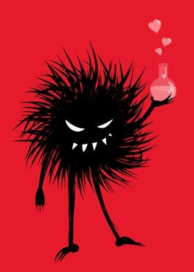 Fun illustration of an evil black bug who has made a lo ...