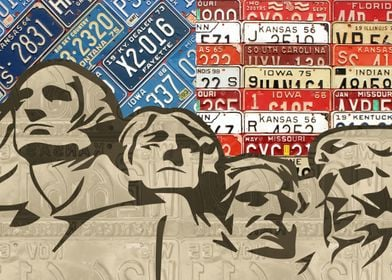 Mount Rushmore National Monument with Flag Recycled Vin ...