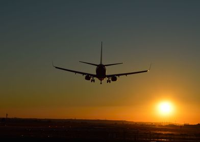 Aircraft landing in Sevilla (Spain) Airport (SVQ).