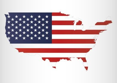 United States Of America shape with flag