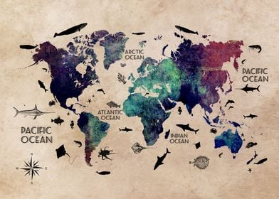 World Map Oceans Life