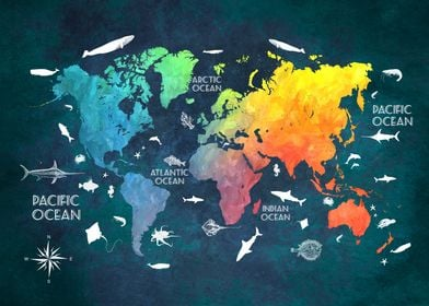 World map Oceans Life